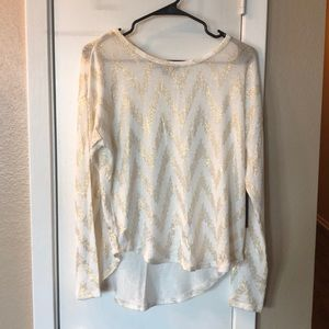 NWT White and Gold Long Sleeve